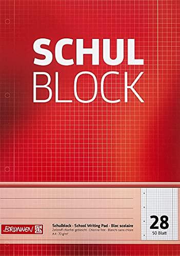 Brunnen 1052528 Schulblock / Notizblock (A4, 50 Blatt, kariert, mit Randlinien, Lineatur 28, gelocht, kopfverleimt, 70 g/m²)