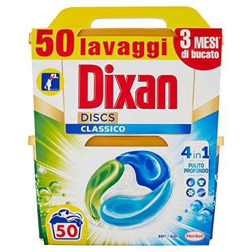 Dixan Discs Classico Detersivo Lavatrice Predosato in Capsule 4 in 1, 2 x 25 Lavaggi