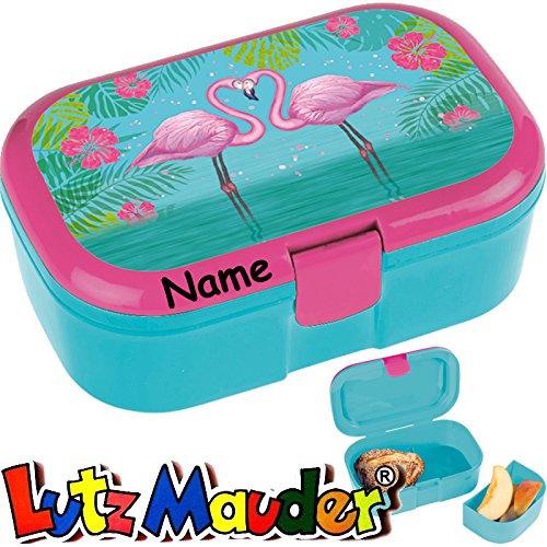 Lunchbox * Flamingo Plus Wunschname * für Kinder von Lutz Mauder // Brotdose mit Namensdruck // Hawaii Vesperdose Brotzeitbox Brotzeit (mit Namen)
