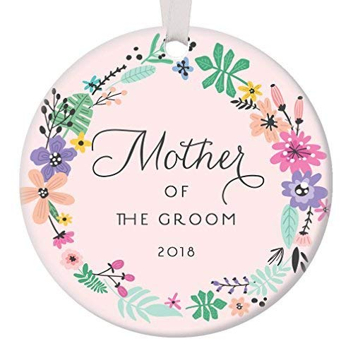 Fr75en - Adorno Rosa de la Madre del Novio 2019, Regalo para la Madre del Novio, Adorno de Navidad, Boda, Fiesta, Agradecimiento, Marido, Hijo, Padres