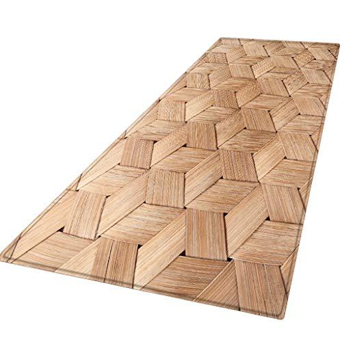 Xmansky Flanell gedruckten Schlicker saugfähige Matten,Sommer-Serie Teppich Flur Fußmatte rutschfeste Teppich absorbieren Wasser Küchenmatte/Teppich 60X180CM