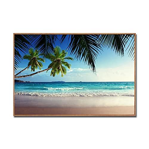 Yiwuyishi Pintura marítima con Puesta de Sol Vista al mar Pintura artística sobre Lienzo para Sala de Estar Baño Pintura de Playa Vista al mar Decoración para el hogar 50x70cm P-1237