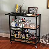 Womio Industrial Rolling Bar Carts for The Home,Kitchen Carts on Wheels, Serving Cart with Wheels,Small Portable Kitchen Island,Wine/Liquor/Tea/Beverage Cart,Butcher Block Table Coffee Cart Station