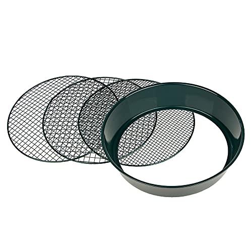 Gartensieb aus Metall mit 3 Maschenweiten 6,4 mm/9,5 mm/12,7 mm - Erdsieb rund Sandsieb 37 cm Höhe 8 cm - Garten Sieb Steinsieb Kompostsieb