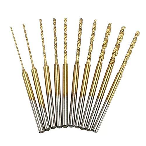 LKAIBIN Drill 10pcs 0.6-2.2mm Twist Drill Bits Set HSS Titanium Coated High Speed Steel Drill Bits Gold Drill Accessories Drill Bit Set