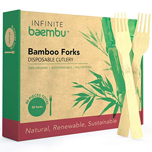 50 Piece Bamboo Fork Set - Genuine 100% Bamboo Forks | Plastic-Free Packaging | Compostable Forks | Biodegradable Forks | Best Eco Friendly Alternative to Wood Forks & Plastic Forks | 6.75' Utensils