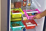 4 Pcs Expandable Adjustable Fridge Storage Basket Under Shelf Fridge Organiser Rack Space Saver Refrigerator Sliding Drawers - Unbreakable Random Colours.(Pack of - 4)