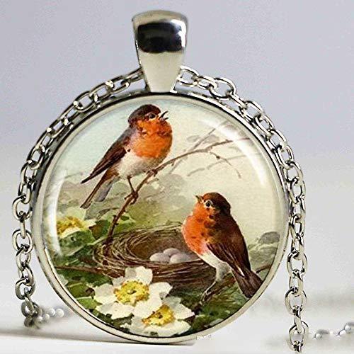 Halskette mit Rotkehlchen-Anhänger, Vogel-Schmuck, Rotbrüster-Rotkehlchen-Anhänger, Kunstharz-Charm, Geschenk für Vogelliebhaber