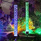 Pack de 2 lampes solaires de jardin, ONEVER Extérieure Tube Lumières Acrylique Bulle RVB Gradient De Couleur Solaire Actionné Lampe de pieu pour Jardin Patio Arrière Cour Voie Décoration