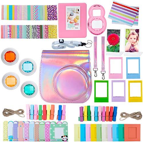 ZWOOS 12 en 1 Accesorios para Instax Mini 9/ Mini 8/ Mini 8+/ Mini 8S Cámara instantánea, Incluida Funda para cámara/Lente Selfie/álbum/Pegatinas/Marcos/Filtros (Rosa láser)