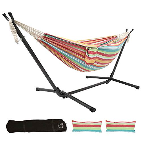 ONCLOUD Double Hammock with Stand 9 FT Space Saving, Hammock Stands Heavy Duty Includes Portable Carrying Case/Pillows/Cup Holder for Outdoor or Indoor (Red Yellow)