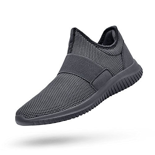 QANSI Mens Sneakers Slip-on Running Walking Shoes Lightweight Workout Gym Shoes Gray 10.5