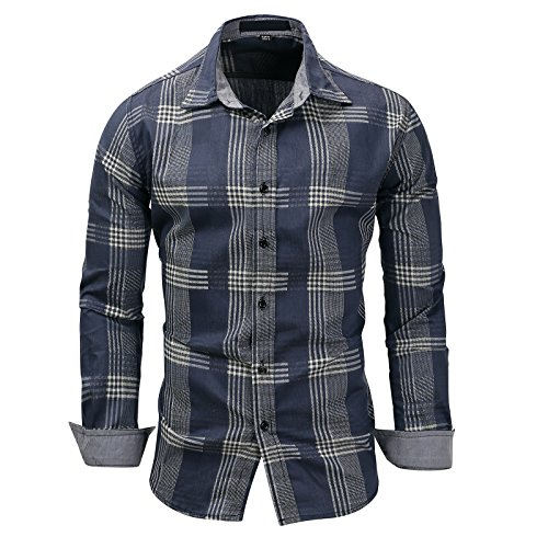 Camisa masculina xadrez xadrez xadrez 100% algodão da WSLCN, manga comprida, xadrez Vichy, caimento justo, Dark Blue, XL