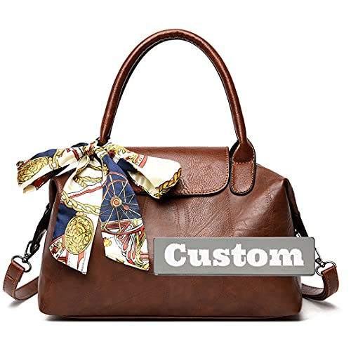Nome personalizzato Impugnatura superiore Maniglia Satchel Borse da donna per le donne in pelle grande cartella (Color : Brown, Size : One size)