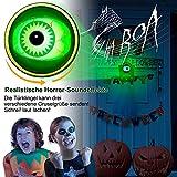 stimmt Halloween-Deko, Halloween Türklingel Animierter Augapfel mit Gruseligen Geräuschen, Halloween-Dekoration für Spuk Haus Party Türen Outdoor - 2