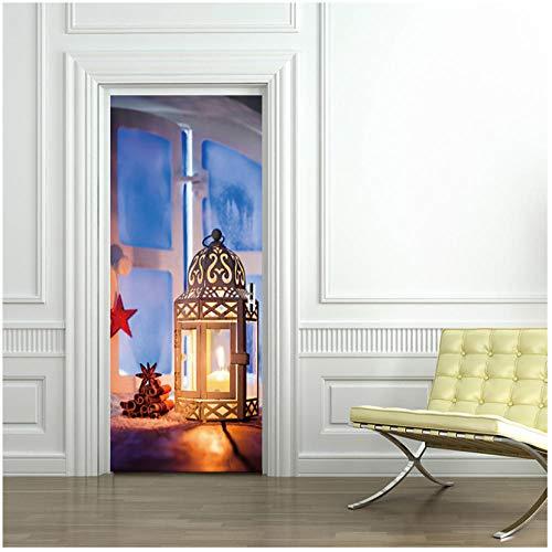 Home Decoration 3D Deur Sticker Verwijderbare PVC Vinyl Woonkamer Slaapkamer Voordeur Creatief Ontwerp Glas Raam Holle lamp Kerstmis Mural 95x215cm