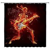 AMFD Burn Skull Shower Curtain Guitar Music Rock Alternative Skeleton Cool...