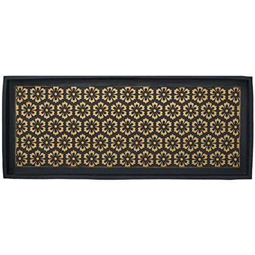 HF by LT Layla Design Deluxe Rubber Boot Tray, 34 x 14 inches, Heavy Duty Vulcanized Rubber, One-Piece Seamless Construction, Year Round Use Indoors or Outdoors, Black with Brushed Brass Finish