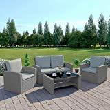 <span class='highlight'>Abreo</span> <span class='highlight'>Rattan</span> <span class='highlight'>Garden</span> <span class='highlight'>Furniture</span> Patio Conservatory New 4 Seater Wicker Weave Algarve Sofa <span class='highlight'>Set</span> (Solid Light Grey and Light Cushions)