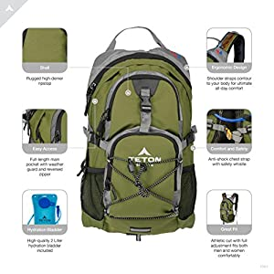 TETON Sports Oasis 1100 Hydration Pack; Free 2-Liter Hydration Bladder; For Backpacking, Hiking, Running, Cycling, and Climbing; Green, 18.5-Inch x 10-Inch x 7-Inch (1001)
