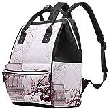 LORVIES Wickeltasche mit chinesischen Landschaftsmalerei, Wickelrucksack mit isolierten Taschen,...
