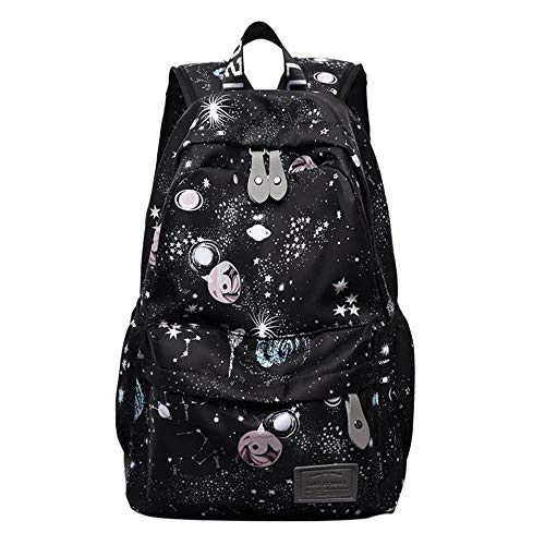 Backpack Bag Women Backpack Black Starry Sky Pattern Printed Shoulder Bag Travel Backpack Nylon Leisure Bags School Female Bag Black