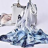 UKKD Bufanda Mujeres Flores Naturales De Lujo Larga Impresión De Seda Bufanda Azul Eran Damas Pañuelos De Seda Envolturas Neckscarf,El Color 12,170X53Cm