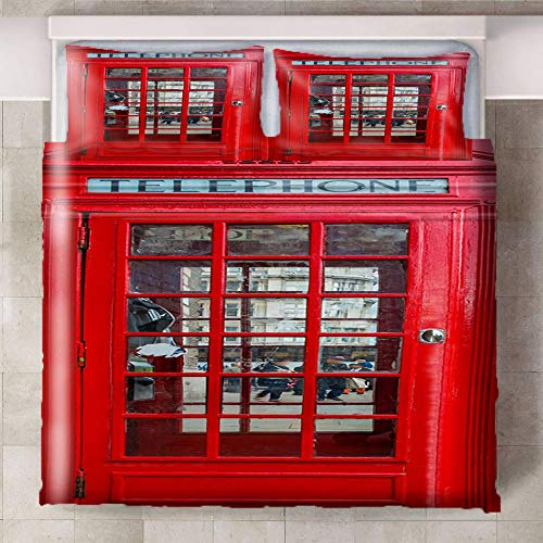 HYBWSO Funda nórdica de 3D Cabina de teléfono roja Juego de Cama con Cierre de Cremallera,Funda de edredón de 100% poliéster Suave 240xmx220cm