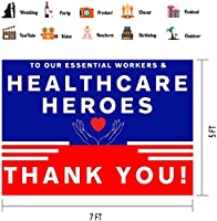 HD 7x5ft Healthcare Heroes Thank You Backdrop Red Blue White Background Vinyl Photo Shoot Props BJQQPH69