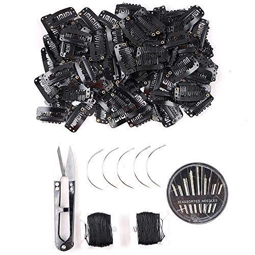 80Pcs Wig Clips Hair Extension Clips Wig Accessories Clips for Wig Snap Wig Clips U-Shape Snap Clips for Hair Extensions(Black)