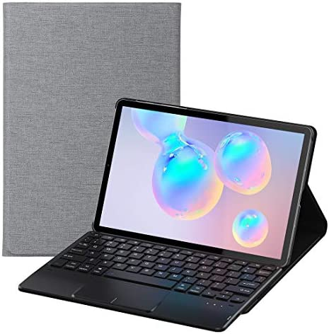 Feitenn Galaxy Tab S6 Keyboard, Tab S6 Keyboard Case, Laptop Touchpad Detachable Sleep/Wake Smart Tablet Cover Pencil Holder Stand Wireless Bluetooth Keyboard for Samsung Galaxy Tab S6 10.5'' - Gray
