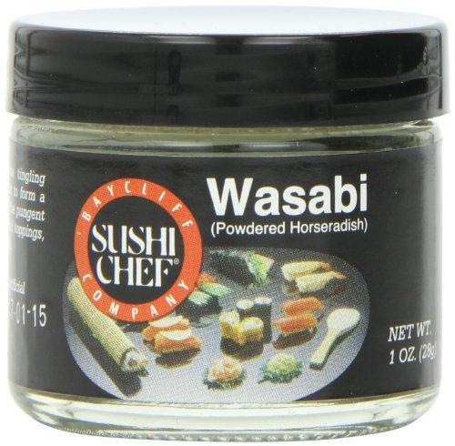 Sushi Chef Wasabi Powdered Green Horseradish 1Ounce Glass Jars Pack of 6