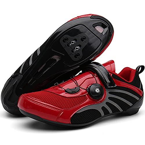 YQSHOES Zapatillas Ciclismo para Hombre Zapatillas Bicicleta Carretera Compatibles con SPD y Delta Cleat para Bicicletas Carreras Interior,Rojo,38EU/6UK/6.5US