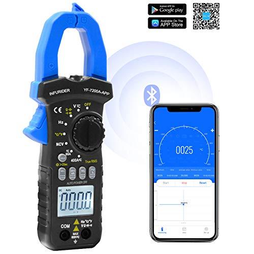 Pinza Amperimétrica Inalámbrica Bluetooth, YF-7200APP 6000 Cuentas Voltímetro Digital Automático Amperímetro con Medidas de CC, CA, Volt, Amp, Ohm, Capacitancia, Temperatura, Probador de Diodo