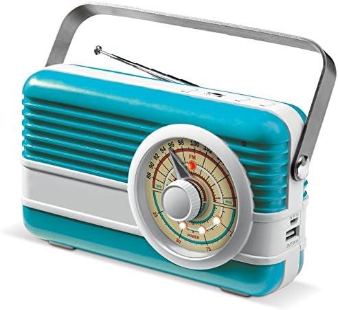 Batería externa de 6000 mAh con radio y altavoz para smartphone en radio transistor retro de noTrash2003 (azul claro).