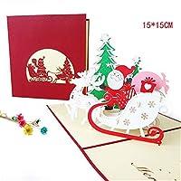 3Dクリスマスカード面白いユニークな3Dホリデーポストカード–クリスマスギフトボックス入りメリークリスマスサンキューカード(3pcs)15 * 15cm