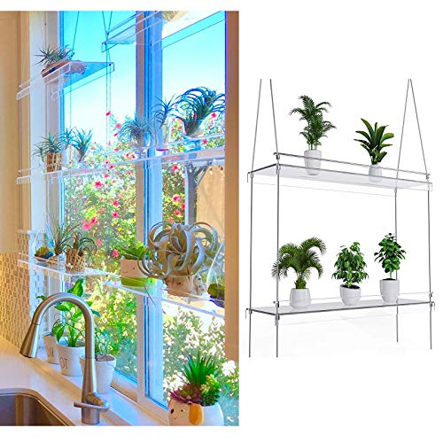 JINTIANSDS 2 Tier Hanging Window Plant Shelves,Clear Acrylic Floating Rope Potted Planter Shelf,Storage Organizer Rack Display Shelves For Indoor Garden Decor-2-thirds 20x34inch(50.8x86cm)