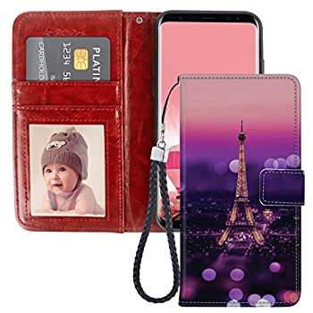 SoLucky Wallet Case for Samsung Galaxy S6 Edge Paris Night View PU Leather with Kickstand and Card Slots Wrist Strap Flip Case for Samsung Galaxy S6 Edge 1 Pack