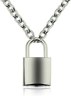 Padlock Necklace Stainless Steel Chains Punk Pendant Necklaces for Women Rock Hip hop Key Lock Necklace Men