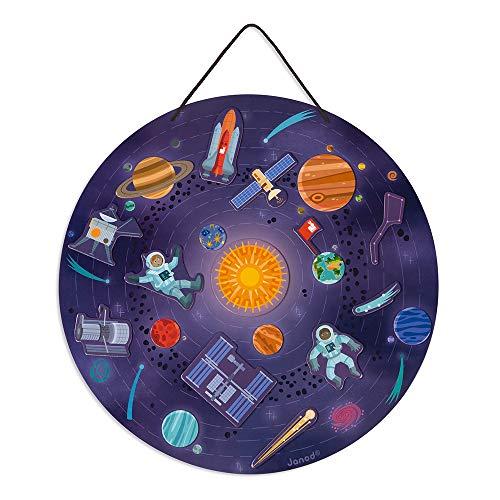 Janod- Mapa magnético del Sistema Solar - Juego Educativo de Madera - A Partir de 7años (JURATOYS J05462)