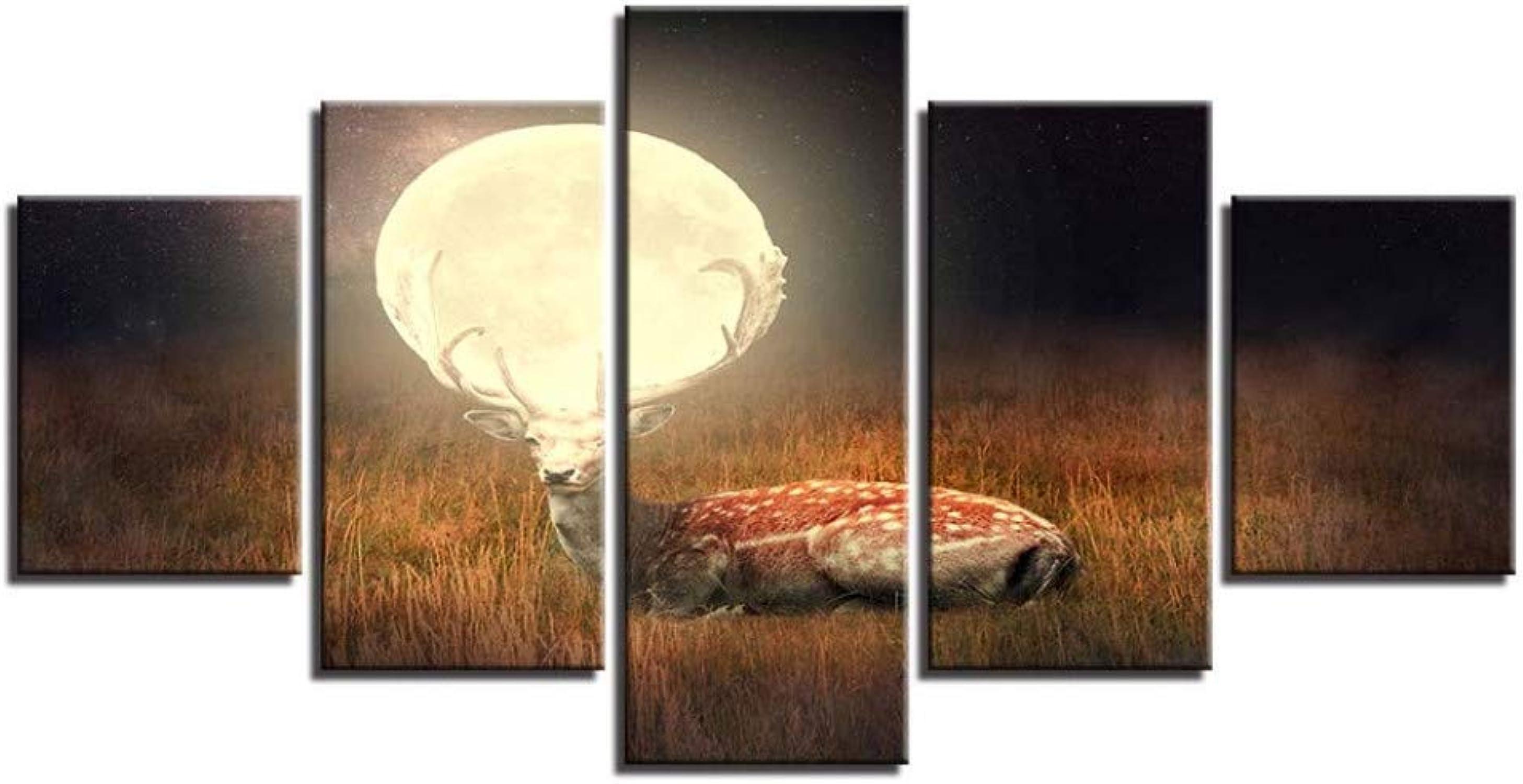 100% precio garantizado ASDZXC Arte De La Parojo Parojo Parojo Pintura De La Lona Impresiones HD Decoración del Hogar 5 Unids Sika Deer Modular Moon Paisaje Imágenes para Dormitorio Ilustraciones Cartel  con 60% de descuento