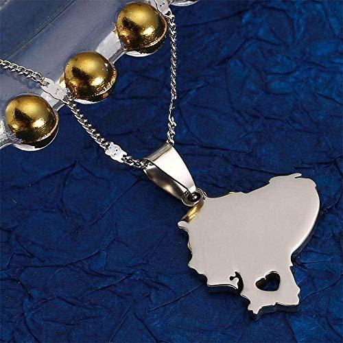 NC174 Collar Color Plata Mapa de Ecuador Corazón Recorte Charm Colgante Amuleto País Recuerdo Joyería Regalo para Hombres Mujeres Día del Padre Presente