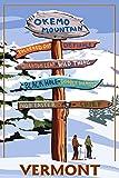 Okemo Mountain Resort, Vermont - Ski Destinations Sign (12x18 Art Print, Wall Decor Travel Poster)