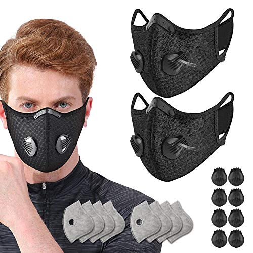 2 Pack Unisex Adjustable Reusable Protect Mouth Cover with 8 Carbon Filters and 8 Valves for Bicycle Riding Running Cycling Outdoor Sport Black