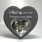 Individueller Personalisiert Herzform Tiergrabstein Schiefer Gedenkstein für Hund, Katze und andere Haustiere Tiere - Größe | 10 x 10 cm | - Foto und Name