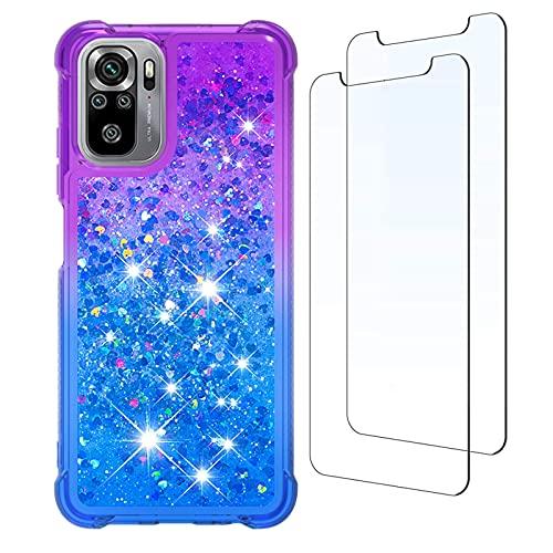 para Redmi Note 10 4G Funda y [2 Pack] Protector de Pantalla, Glitter Liquida Purpurina Transparente Carcasa Brillante Arena Movediza Cover para Xiaomi Redmi Note 10 4G (Púrpura/Azul)