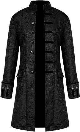 HaoHuodress Hombres Chaqueta Gotica Steampunk Traje Vintage Victoriano Uniforme De Chaquetas Abrigo