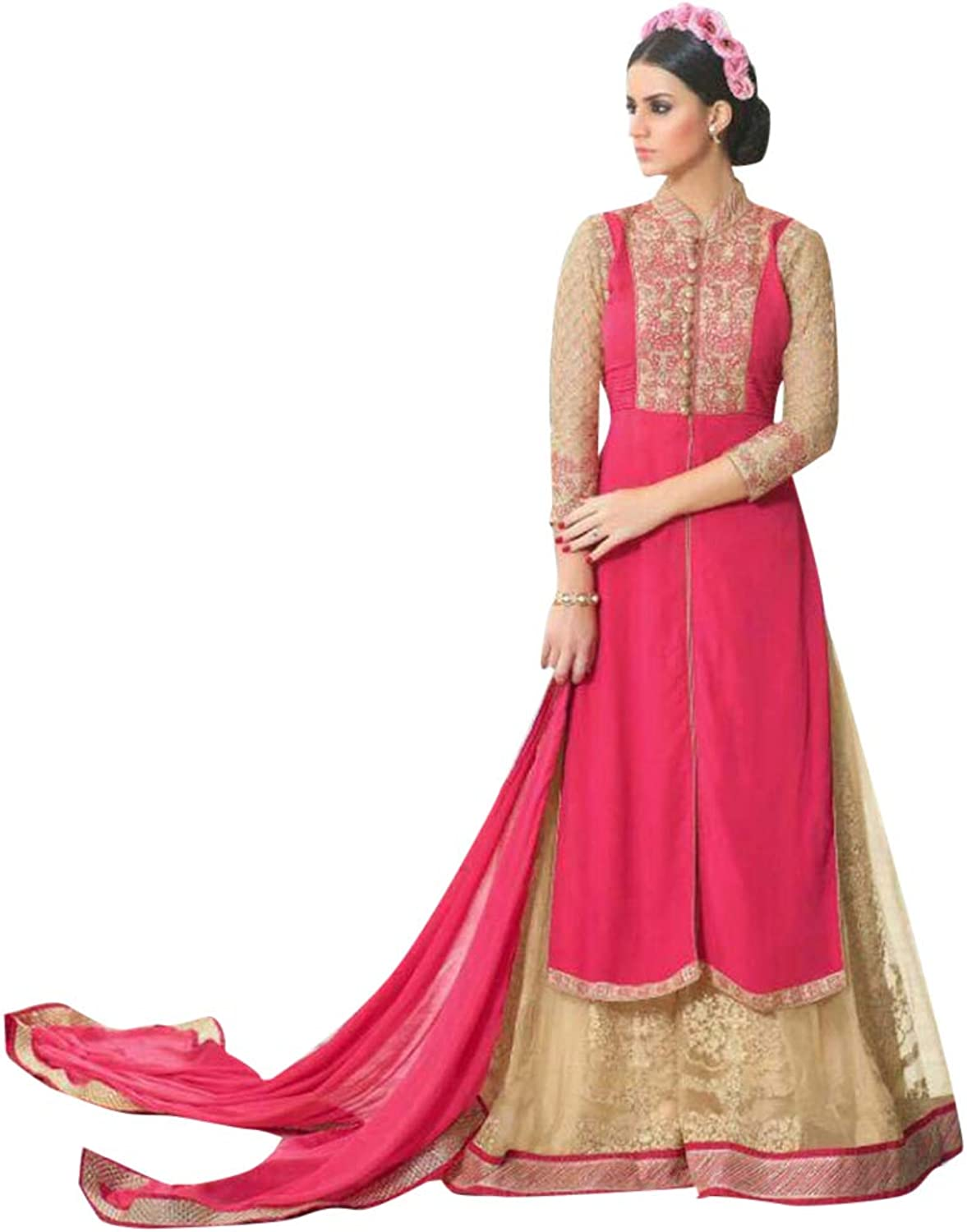 Designer Front Cut Salwar Kameez Suit Palazzo Style Indian Ethnic Party Wear Collection 7356