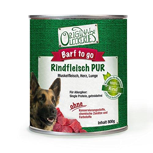 Original-Leckerlies: Rind PUR, 6 x 800g, 100% Muskelfleisch und Innereien, ohne Brühe oder künstliche Zusätze, Nassfutter, Hundefutter, Naturprodukt für Hunde, barfen