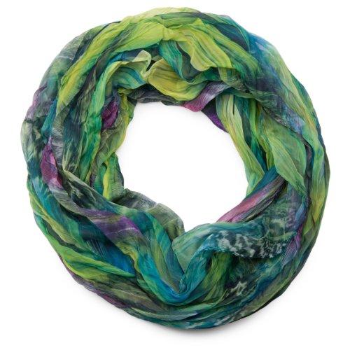 styleBREAKER Sciarpa ad anello in stile batik con motivo a piume, effetto stropicciato, leggera e setosa, 01016064, colore:Verde